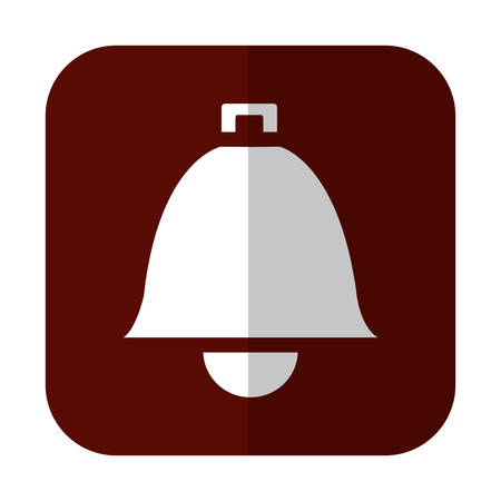 bell icon over brown square and white background. vector illustration Illustration