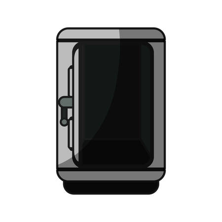 storage box: silver metal strong box open, vector illustration