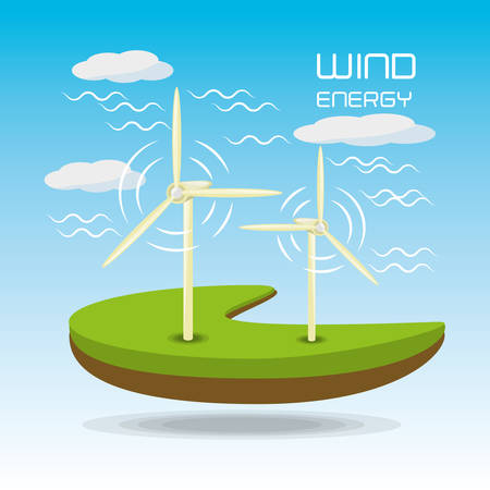 windpower: flat landscape releated with windpower, vector illustration