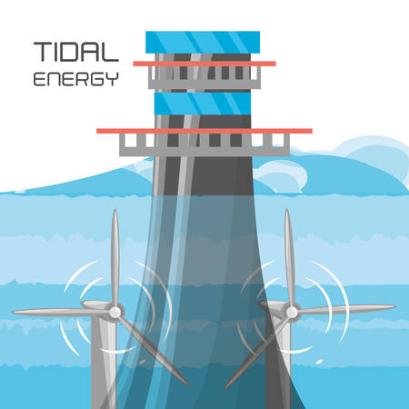 landscape related with tidal energy, vector illustration Illustration