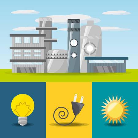Concept plat lié à l'icône de centrale, ampoule, connecteur et soleil, illustration vectorielle Banque d'images - 78845537