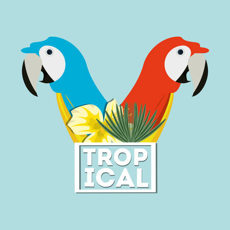 beautiful guacamaya over blue background, vector illustration