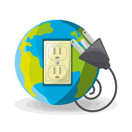 Planète utiliser une énergie alternative pour sauver le monde, illustration vectorielle Banque d'images - 78846116