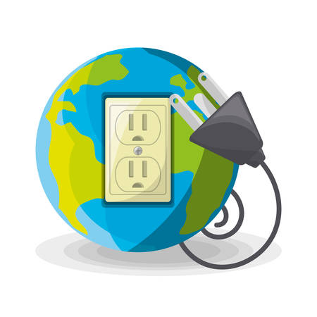planet use alternative energy for save the world, vector illustration Illustration