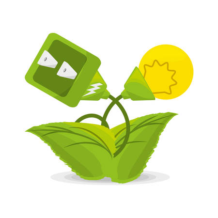plant related with alternative energy for save the planet, vector illustration