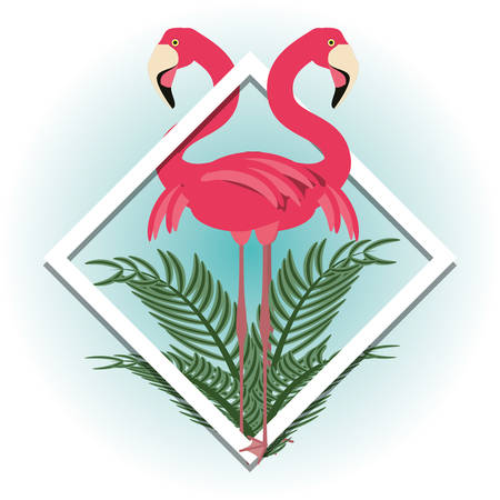 beautiful exotic flamingo with palms and tropical flowers, vector illustration