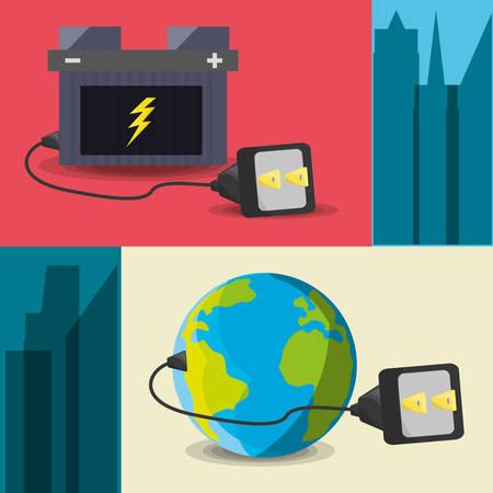 Concept repris avec énergie électrique, illustration vectorielle Banque d'images - 78851018