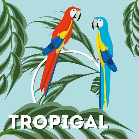 macaw: beautiful guacamaya over tropical palms, vector illustration