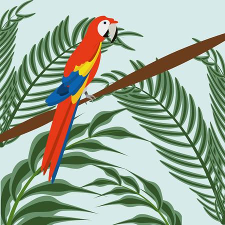 beautiful guacamaya over tropical palms, vector illustration