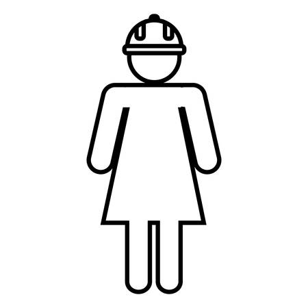 detection: pictogram woman with safety helmet icon over white background. vector illustration