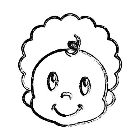 Cute baby boy face icon over white background. Vector illustration.
