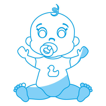 Cute baby boy icon over white background. Vector illustration.