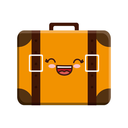 Kawaii travel suitcase icon over white background. Illustration