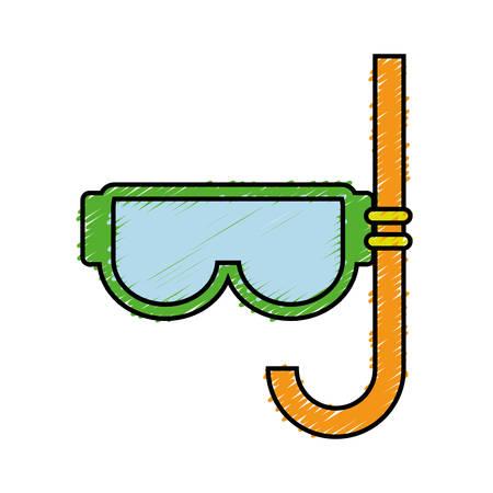 snorkel mask icon over white background. vector illustration
