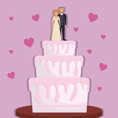 웨딩 케이크 분홍색 배경 위에 그냥 결혼 커플 인물. 화려한 디자인. 벡터 일러스트 레이 션 스톡 콘텐츠 - 78971717