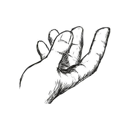 pinky: man hand gesture hand drawn, vector illustration Illustration
