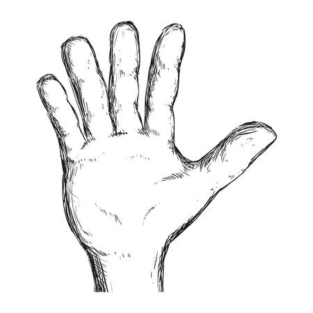 man hand gesture line icon, vector illustration