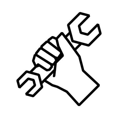 man hand with tool repair hand drawn, vector illustration Illustration