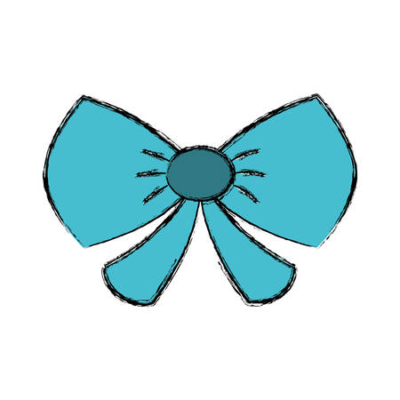 illustraiton: decorative bow icon over white background. vector illustraiton