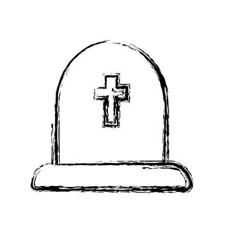 cementery stone with cross icon over white background. vector illustration
