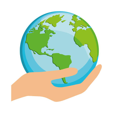 hand holding a planet earth icon over white background. vector illustration Illustration