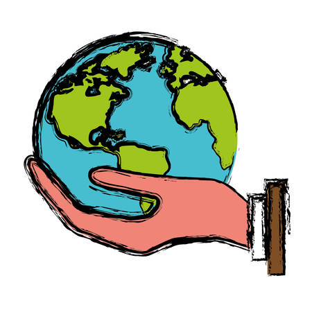 hand holding a earth planet icon over white background. vector illustration