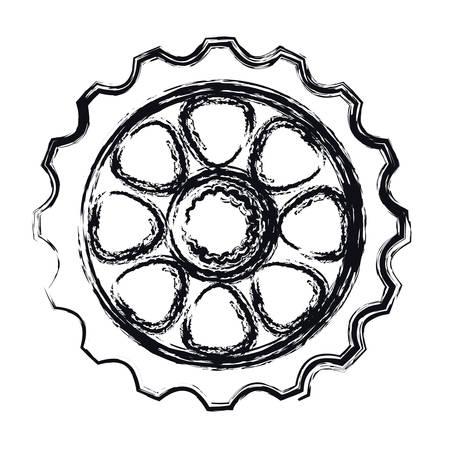 bike gear icon over white background. vector illustration
