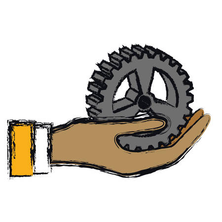 hand holding a bike gear icon over white background. colorful design. vector illustration