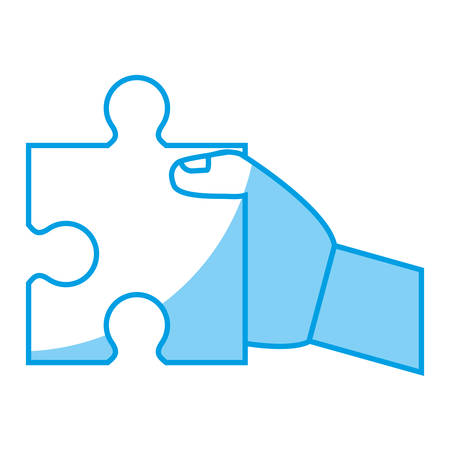 hand holding a jigsaw puzzle icon over white background. vector illustration