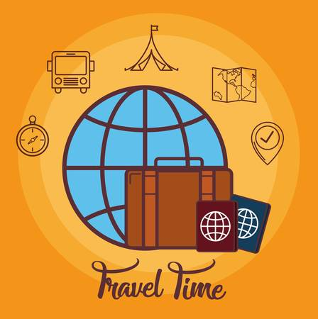 Passports and travel time related icons over orange background. Colorful design. vector illustration