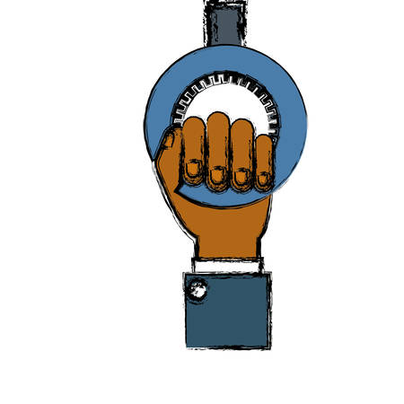 hand holding a bike gear icon over white background. vector illustration Illustration