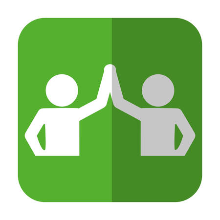 pictogram man doing a handshake icon over green square and white background. vector illustration