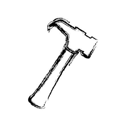 hammer tool icon over white background. vector illustration