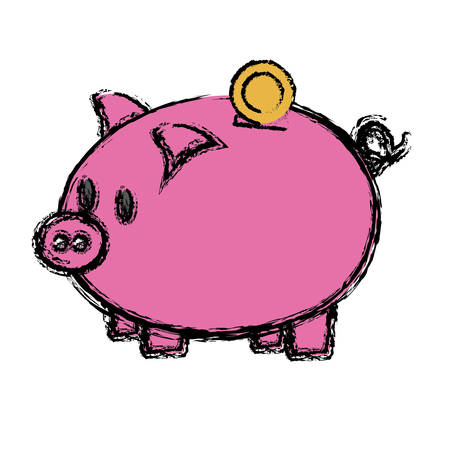 piggy bank icon over white background. colorful design.  vector illustration