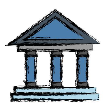 roman column: bank building icon over white background. vector illustration Illustration