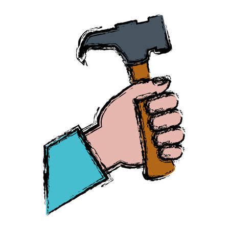 hand holding a hammer tool icon over white background. vector illustration