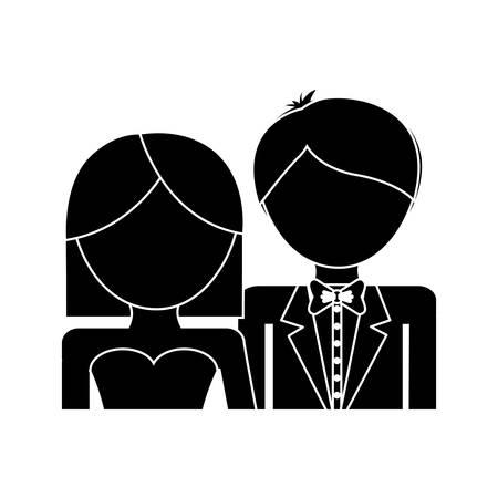 白い背景の上の結婚式カップル アイコン。ベクトル図