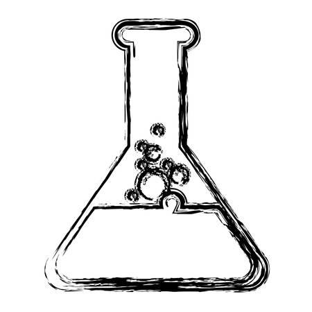 白い背景の上の化学のフラスコのアイコン。ベクトル図