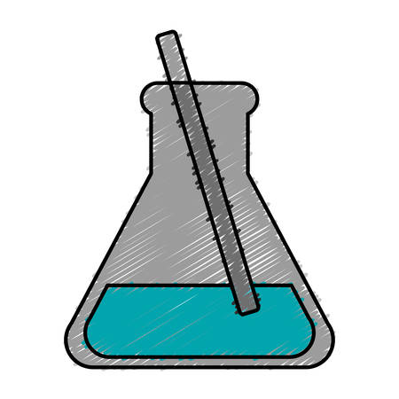 chemical flask icon over white background. colorful design. vector illustration
