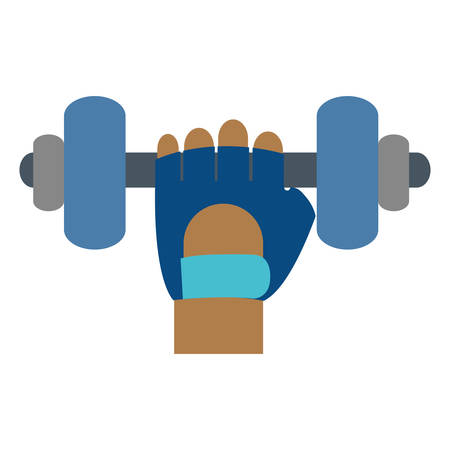 hand holding a dumbbell icon over white background. vector illustration