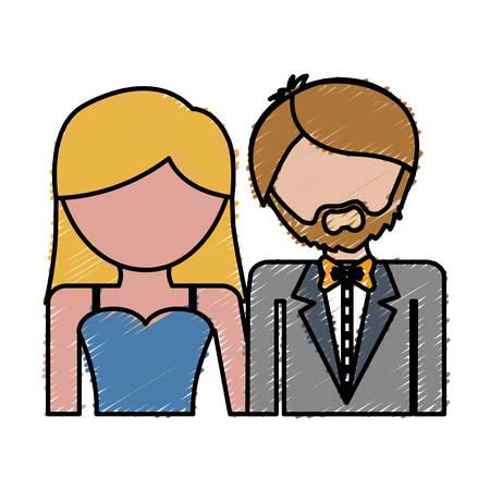 couple wearing elegant clothes icon over white background. colorful design. vector illustration Illustration
