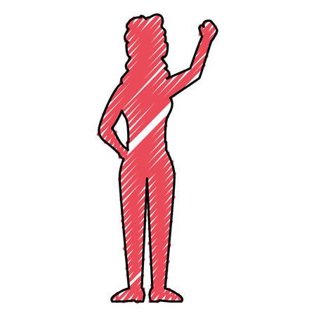 Woman greeting silhouette icon vector illustration graphic design