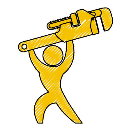 Worker with wrench pictogram icon vector illustration graphic design 版權商用圖片 - 79180490