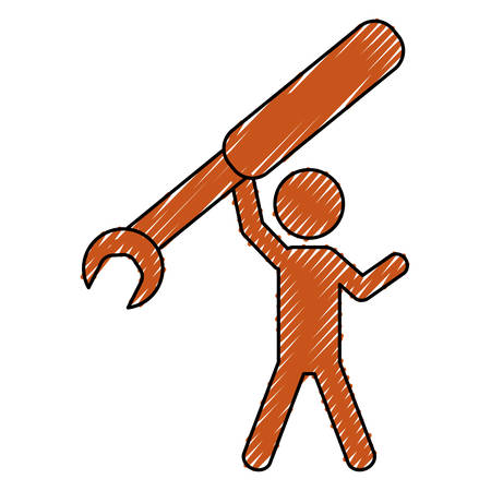 Worker with wrench pictogram icon vector illustration graphic design