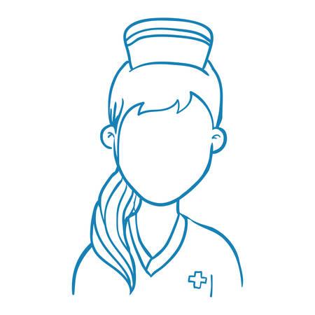 enfermera con cofia: Nurse avatar profile vector illustration icon graphic design