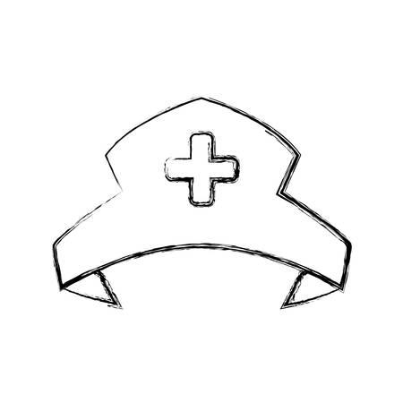 medical headwear: Nurse hat isolated vector illustration icon graphic design