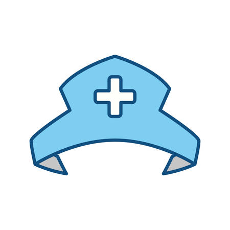 nursing clothes: Nurse hat isolated vector illustration icon graphic design