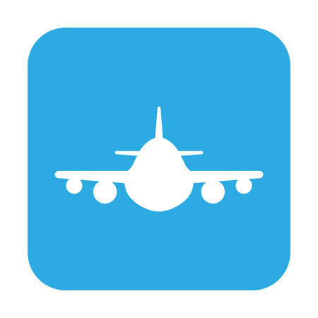 A button with the icon of a airplane, illustration