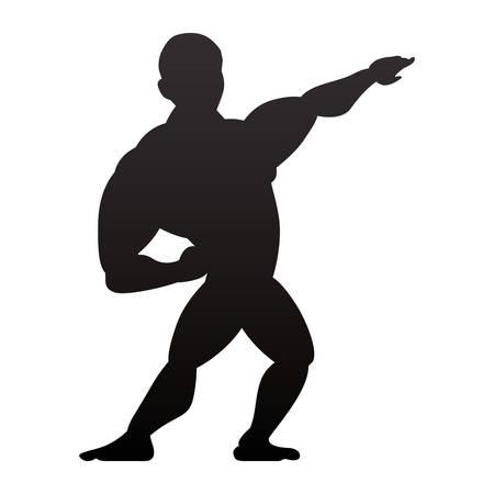 Bodybuilding man silhouette icon vector illustration graphic design Illustration