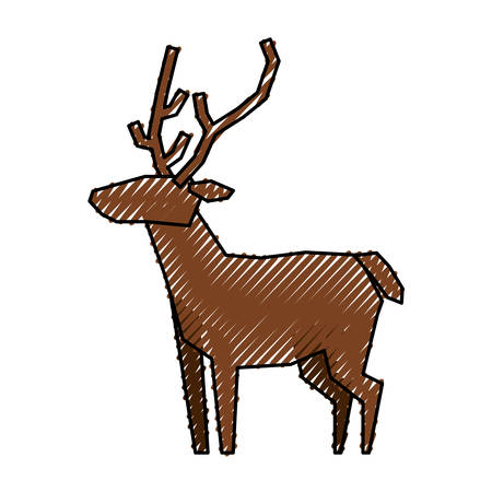 Reindeer christmas animal icon vector illustration graphic design Illustration